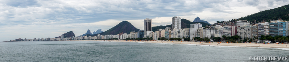 Panoramic View of Copacabana Beach in Rio de Janeiro, Brazil