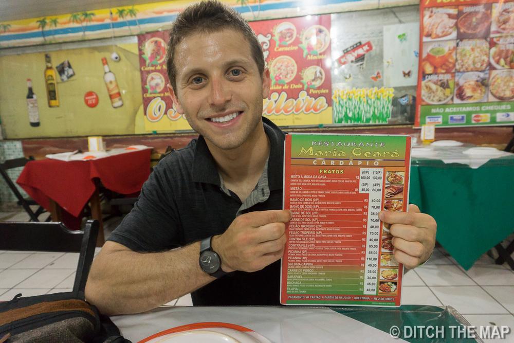 Ordering dinner at Sao Cristovao Fairgrounds in Rio de Janeiro, Brazil