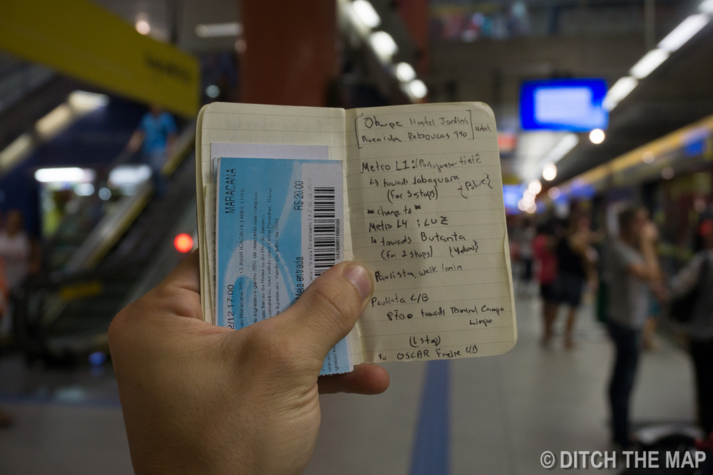 Following google maps directions on how to get to our hostel in Sao Paulo, Brazil