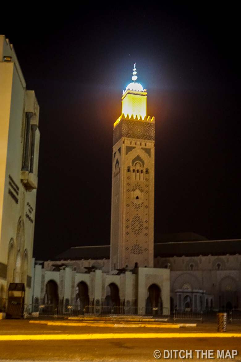 Hassan II Mosque at night in Casablanca, Morocco