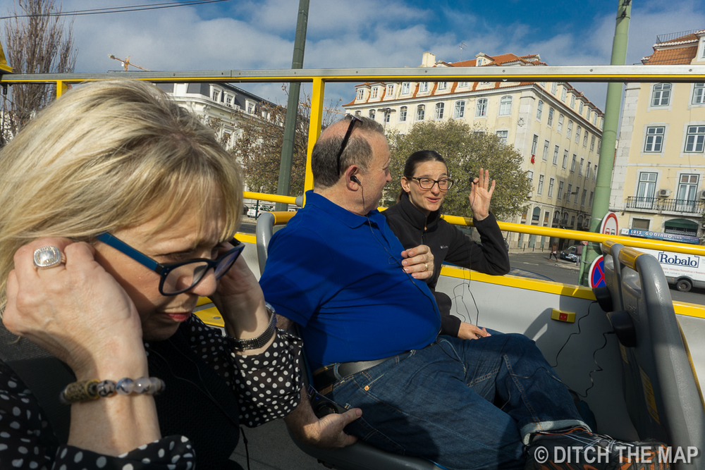 Taking a hop-on hop-off bus in Lisbon, Portugal
