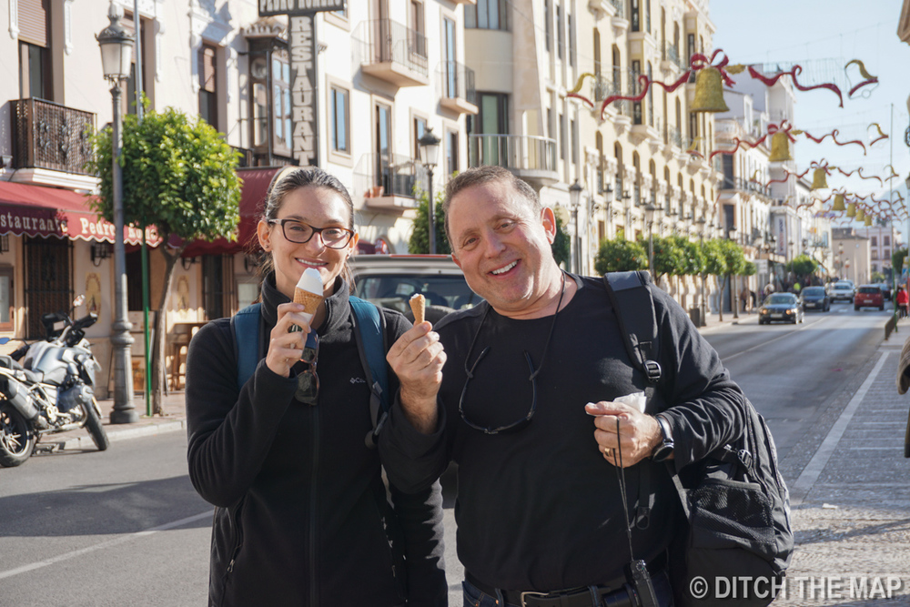 Sylvie and Gary enjoy conos from McDonalds in Ronda, Spain