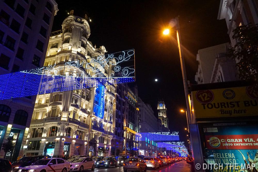 Walking around at night in Madrid, Spain
