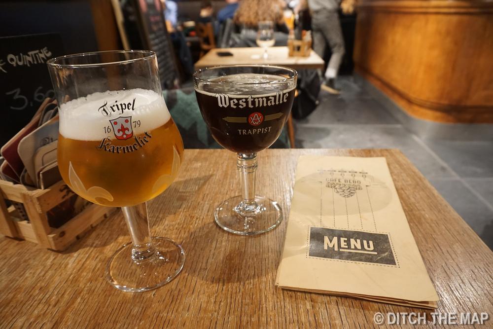 Drinking Belgium Ale in Brussels, Belgium