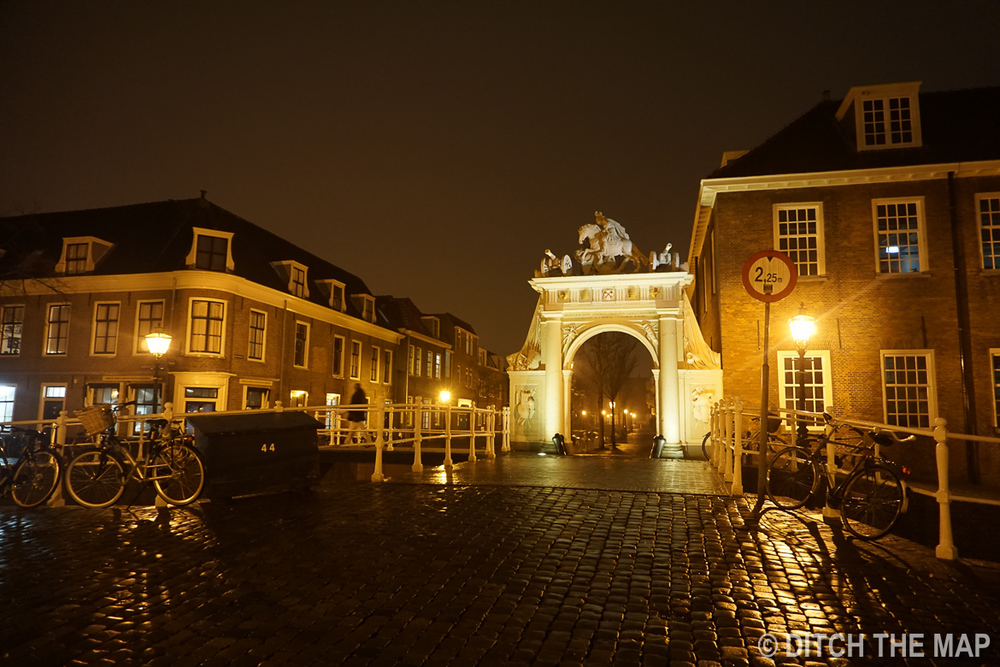 An old arch during the evening in Leiden, Netherlands