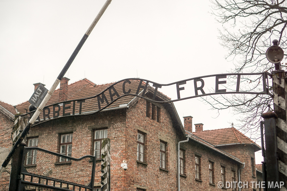 """Work will set you free"" on the gates to Auschwitz, Poland"