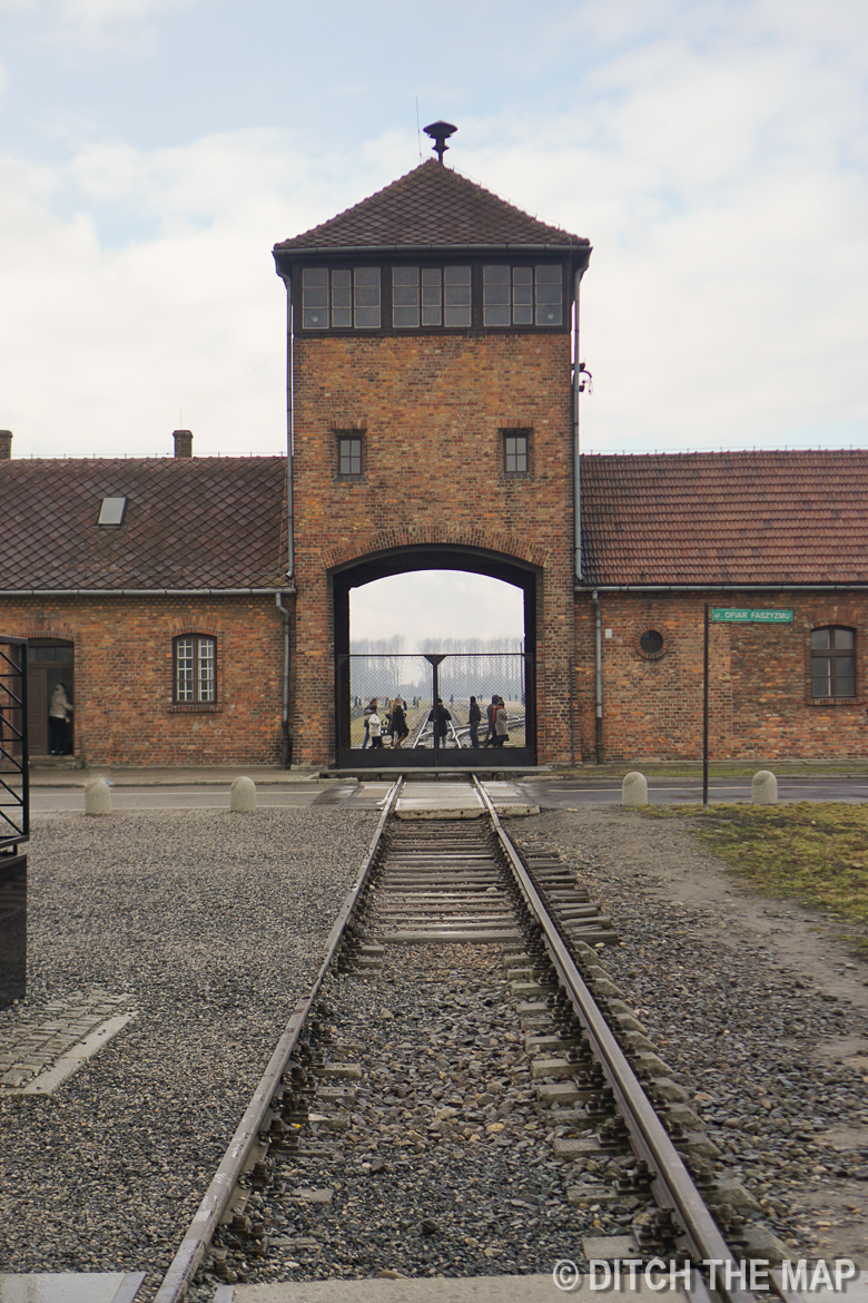 Train tracks leading right into the front gates of Auschwitz II, Poland