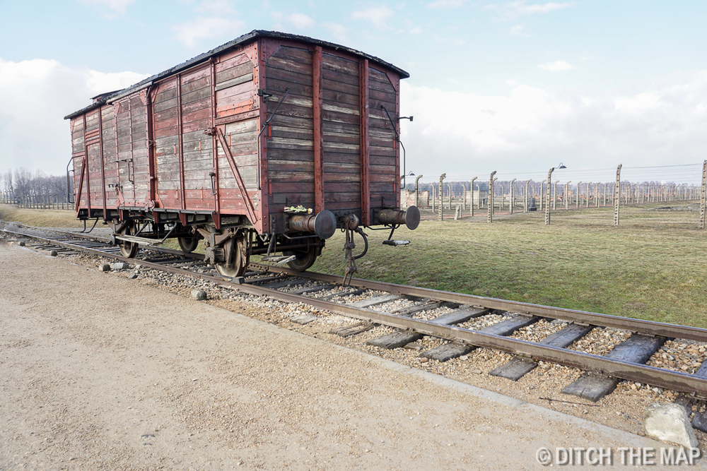 Trains tracks leading right into Auschwitz II, Poland