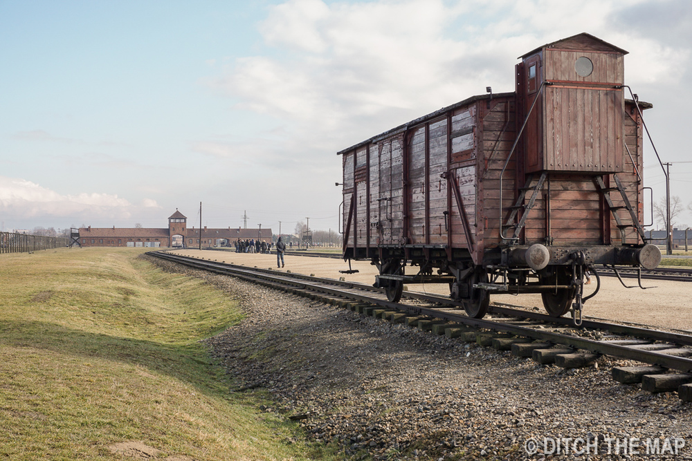 Trains tracks leading right in Auschwitz II, Poland