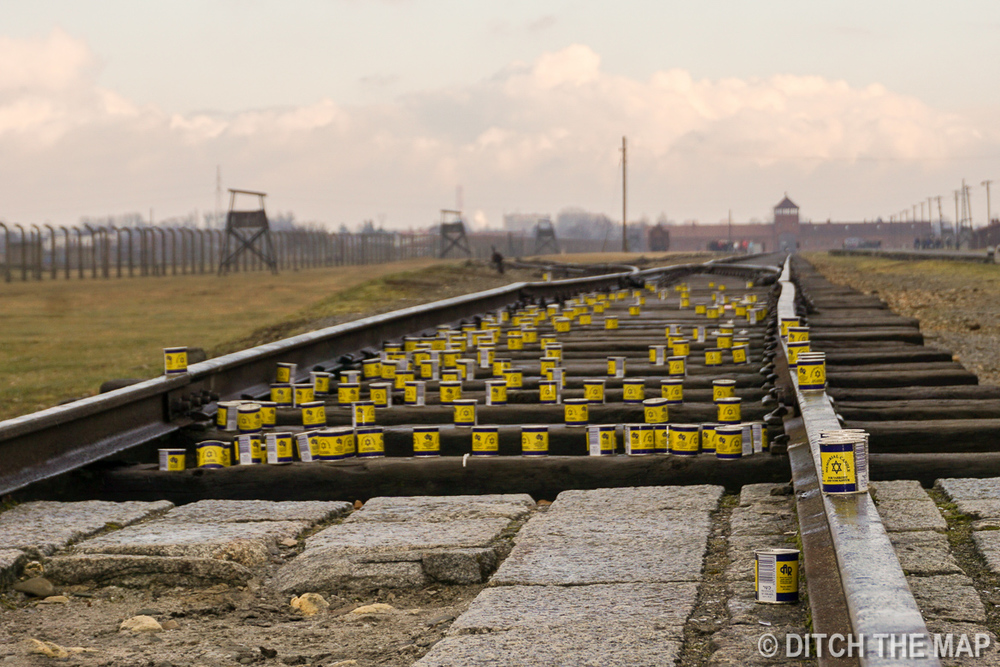 The train tracks terminate inside the camp at the crematoria in Auschwitz II, Poland