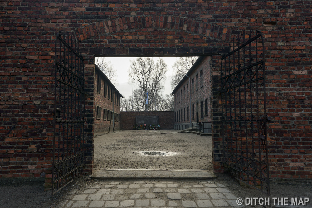 Spot where many Russians were killed by firing squad in Auschwitz, Poland