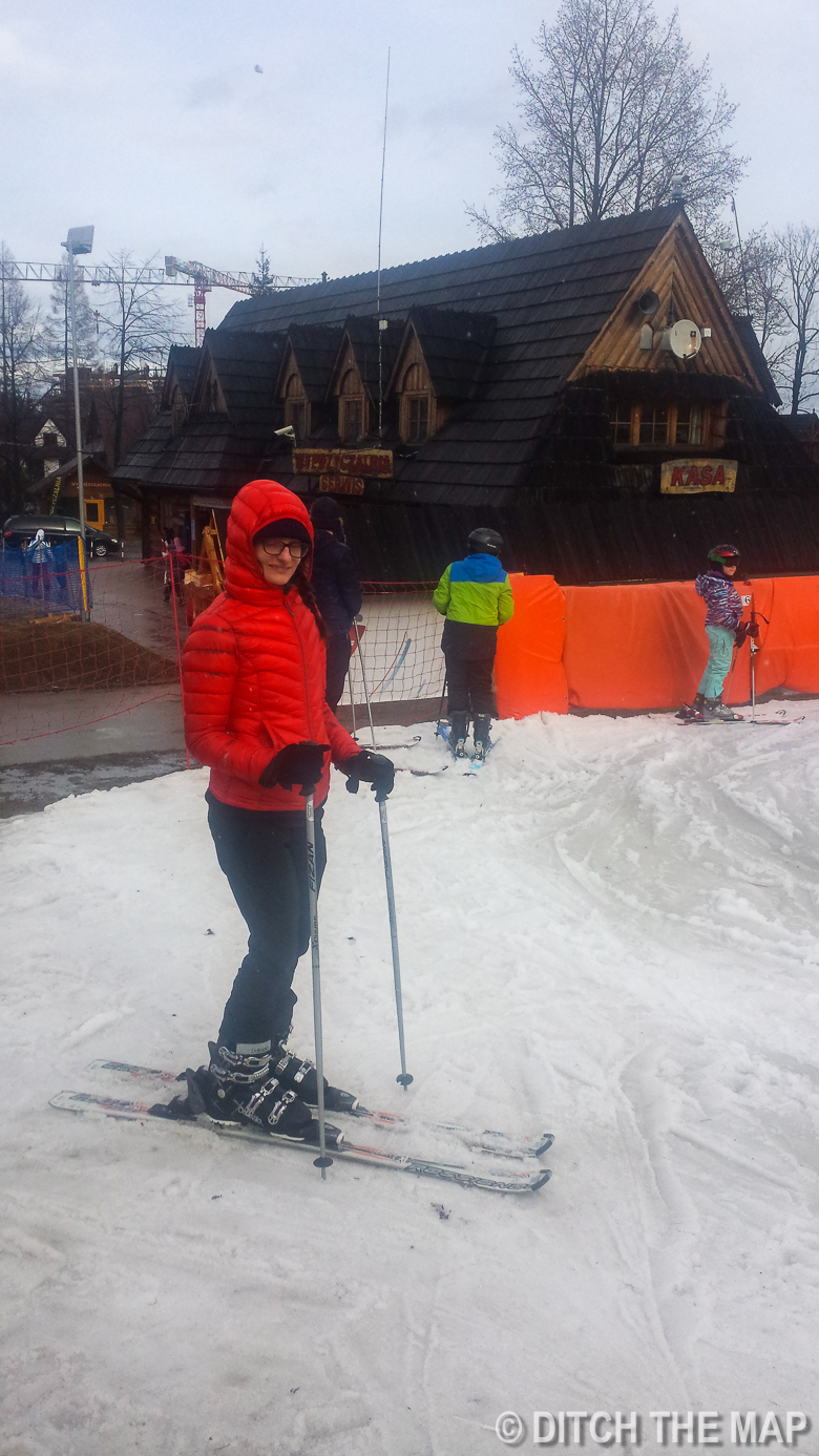 Sylvie skis for the first time at Nosal Ski Resort Zakopane, Poland
