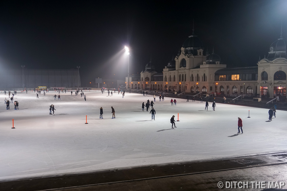 Iceskating Rink a t City Park in Budapest, Hungary