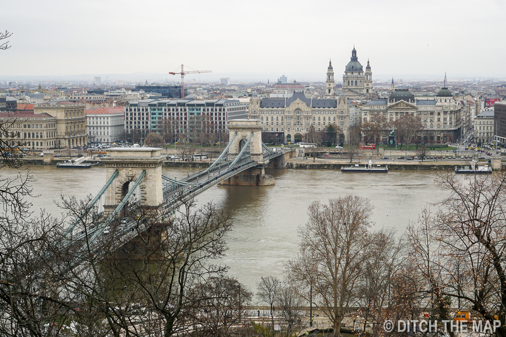 Overlooking the Chain Bridge onto Pest in Hungary