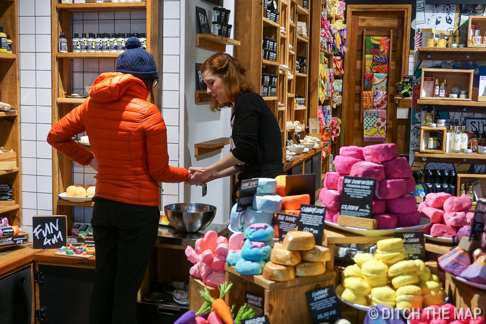 Getting a dozen free samples at Lush's 3rd Store in Zagreb, Croatia