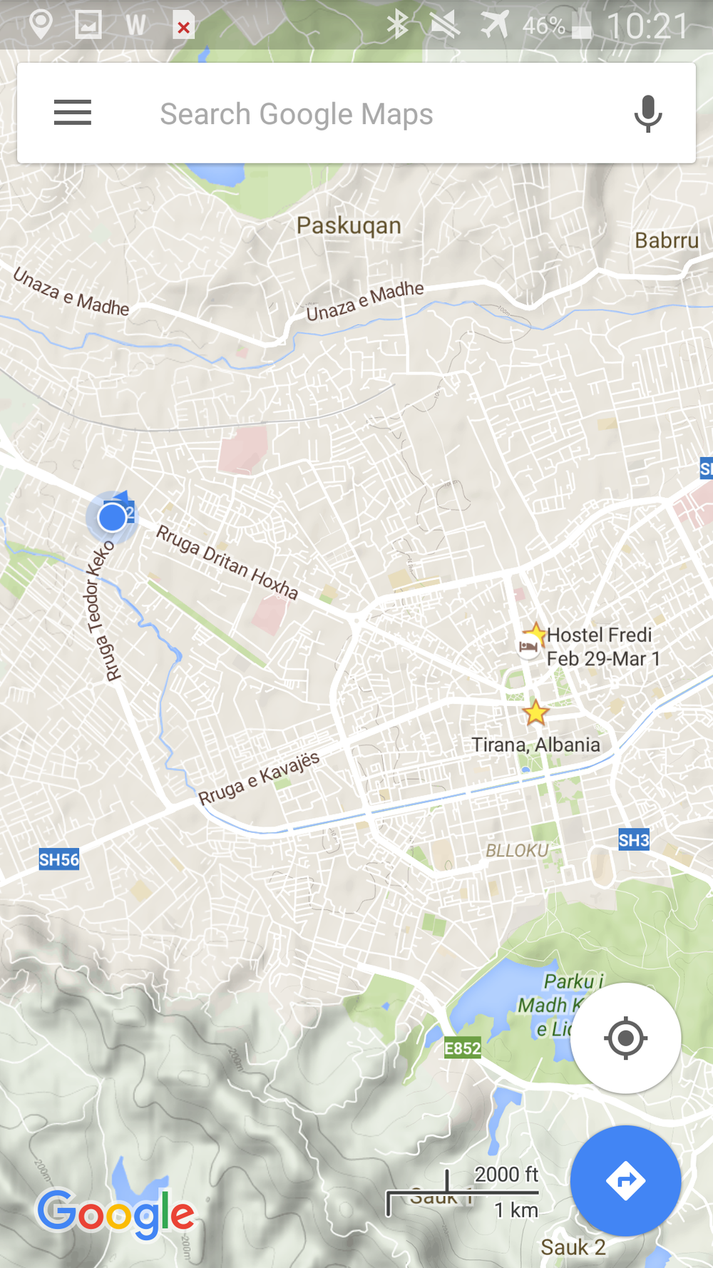 Official Location of Bus Station in Tirana, Albania