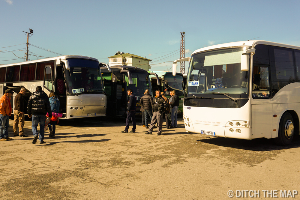 Taking bus from Tirana to Berat, Albania