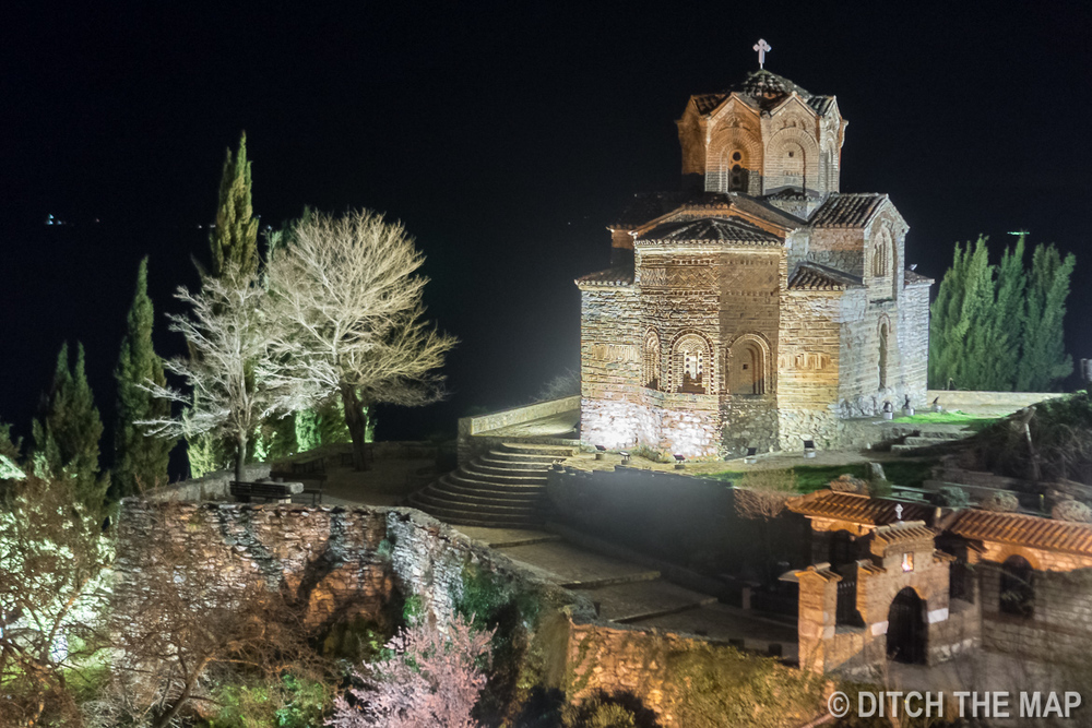 Church at night in Ohrid, Macedonia