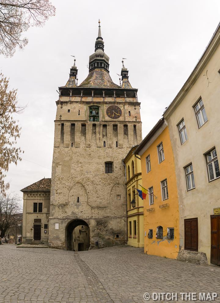 Clock tower in the town of   Sighișoara, Romania