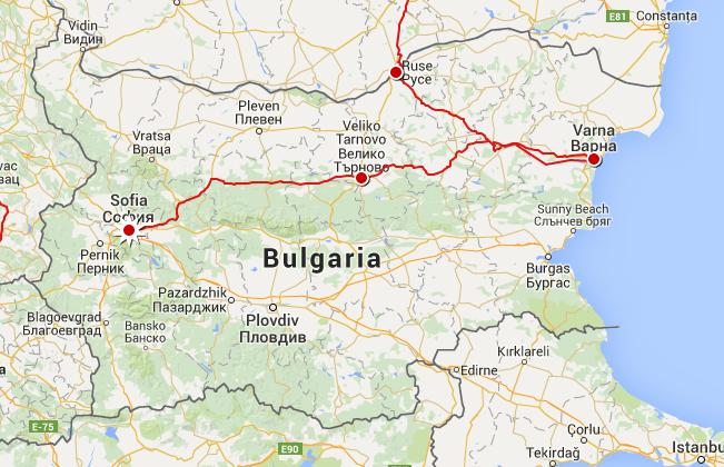 Our Route through Bulgaria