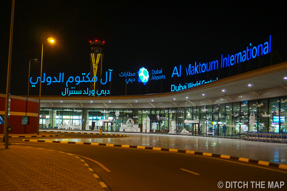 Arriving at Al Maktoum International Airport in Dubai, UAE