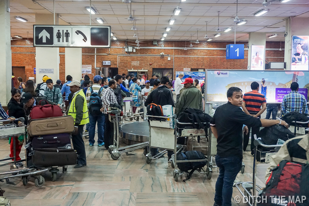 Getting our Baggage in Tribhuvan International Airport in Kathmandu, Nepal