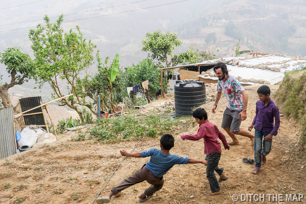 Kids Playing in the Yard at our Workaway in Nepal
