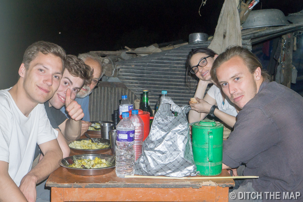 Eating Dinner during our Workaway in Nepal