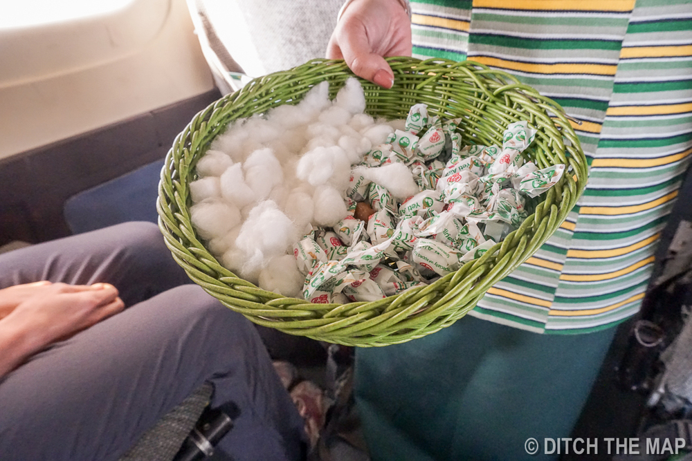 We are given cotton for our ears during the flight to Lukla, Nepal