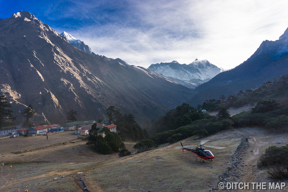 Medical evacuation via helicopter in Dingboche, a view from our window.