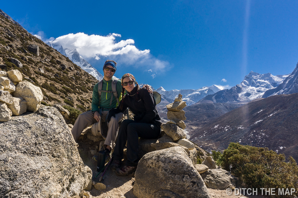 Hiking to the top of Nagarjun Hill outside of Dingboche