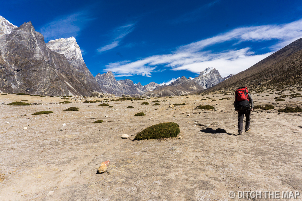 Following our porter to Lobuche
