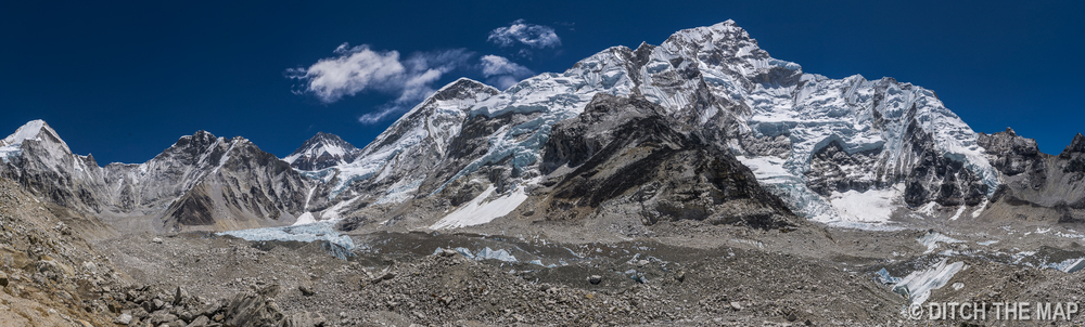 Panorama of Everest Base Camp Area  (picture stitched together using 50 separate photos)