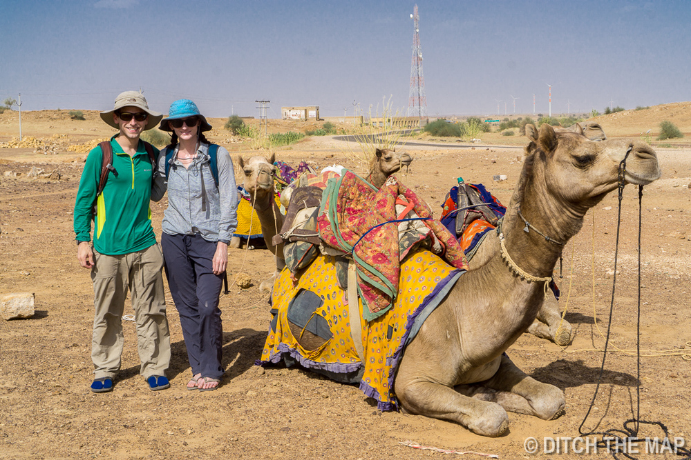 Starting our Camel Safari outside Jaisalmer, India