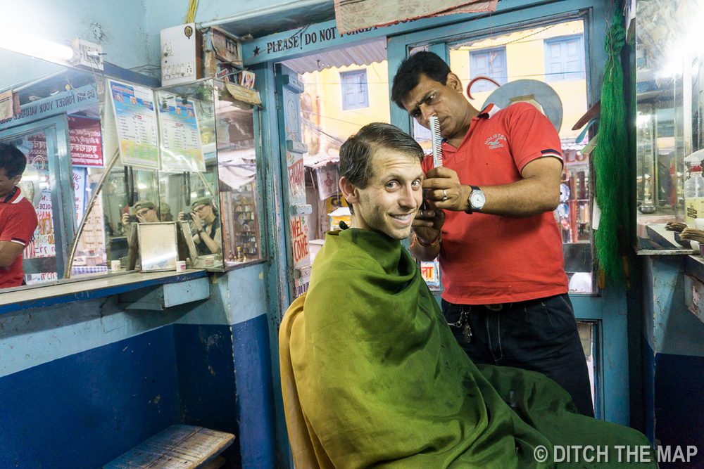 Getting a Haircut in Pushkar, India