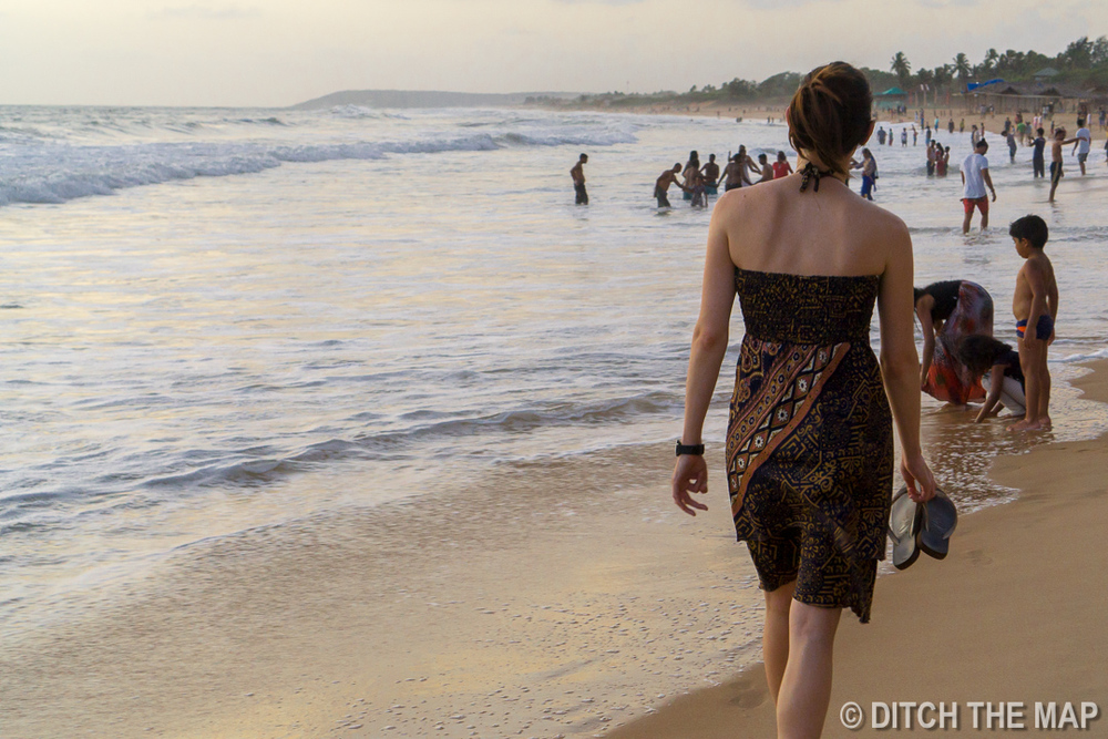 Walking along the beach in Northern Goa, India