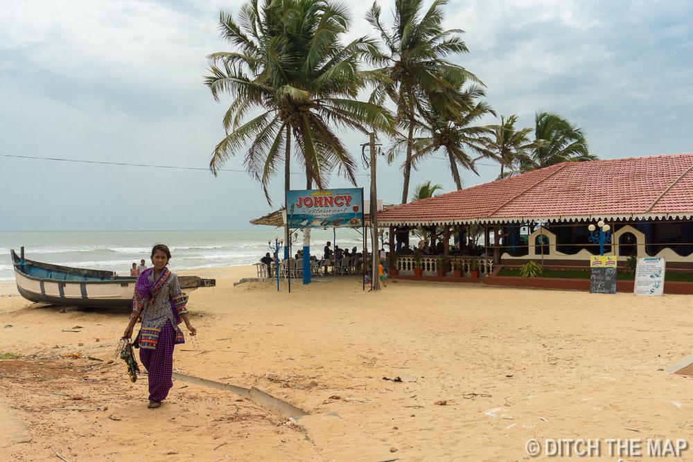 Beachside Restaurant at Benaulim Beach in South Goa, India
