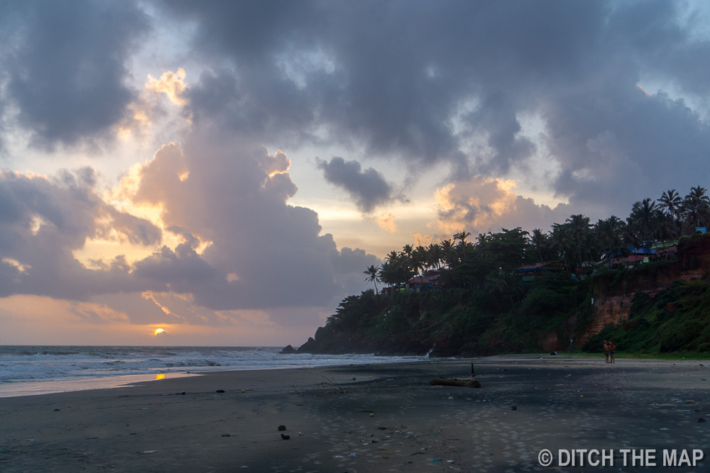 Sunset on Varkala Beach in South Kerala, India