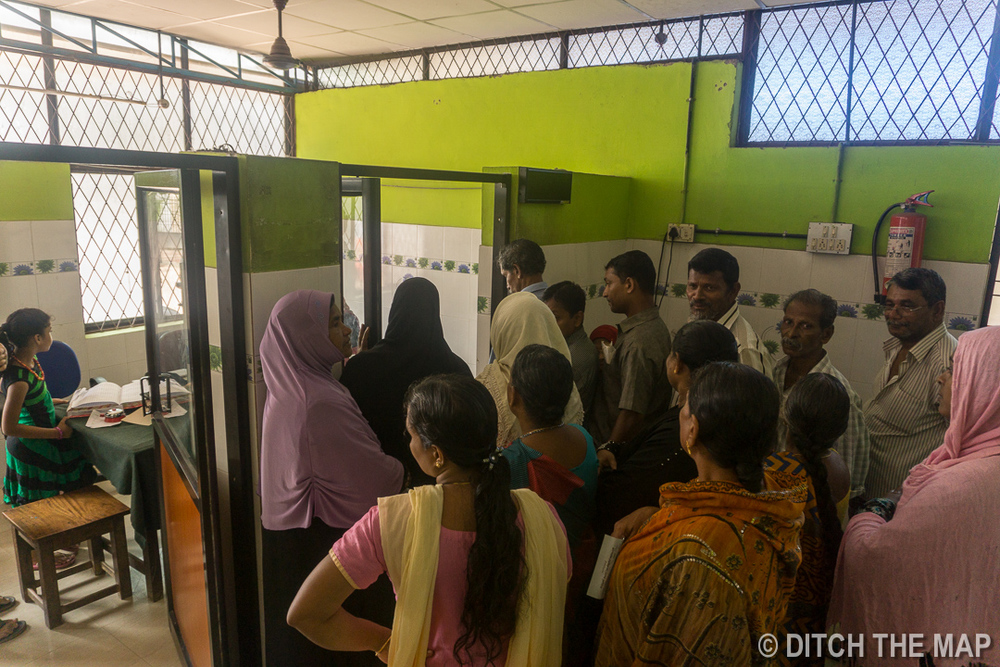 Waiting in line at a local hospital in Kochi, India