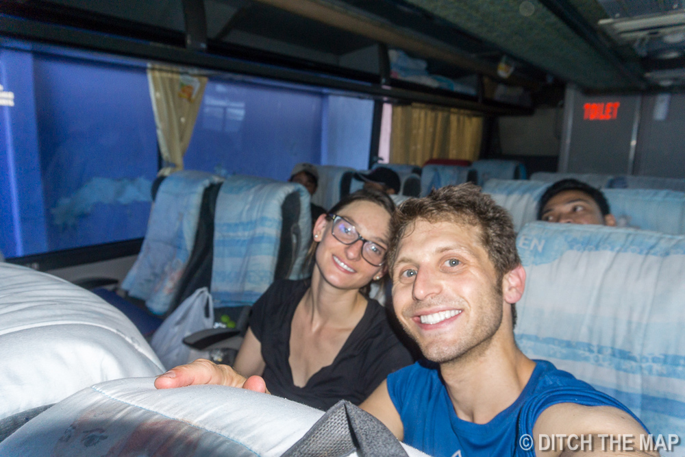 Aboard our 23-hr bus ride to Bali, Indonesia