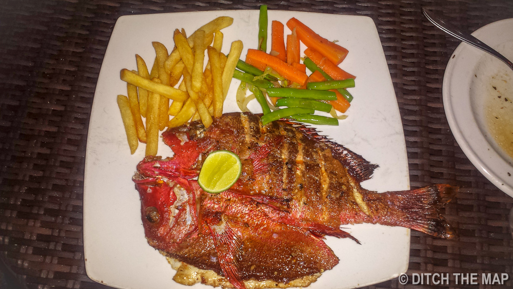 Eating Red Snapper in Gili Air, Indonesia