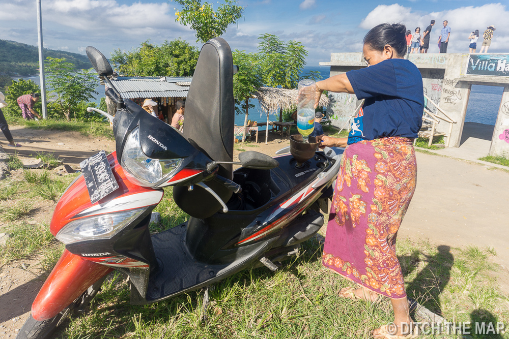Refueling our Rented Scooter in Senggigi, Lombok