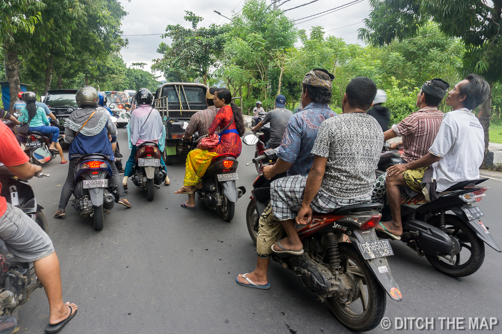 Driving in Traffic in Lombok, Indonesia