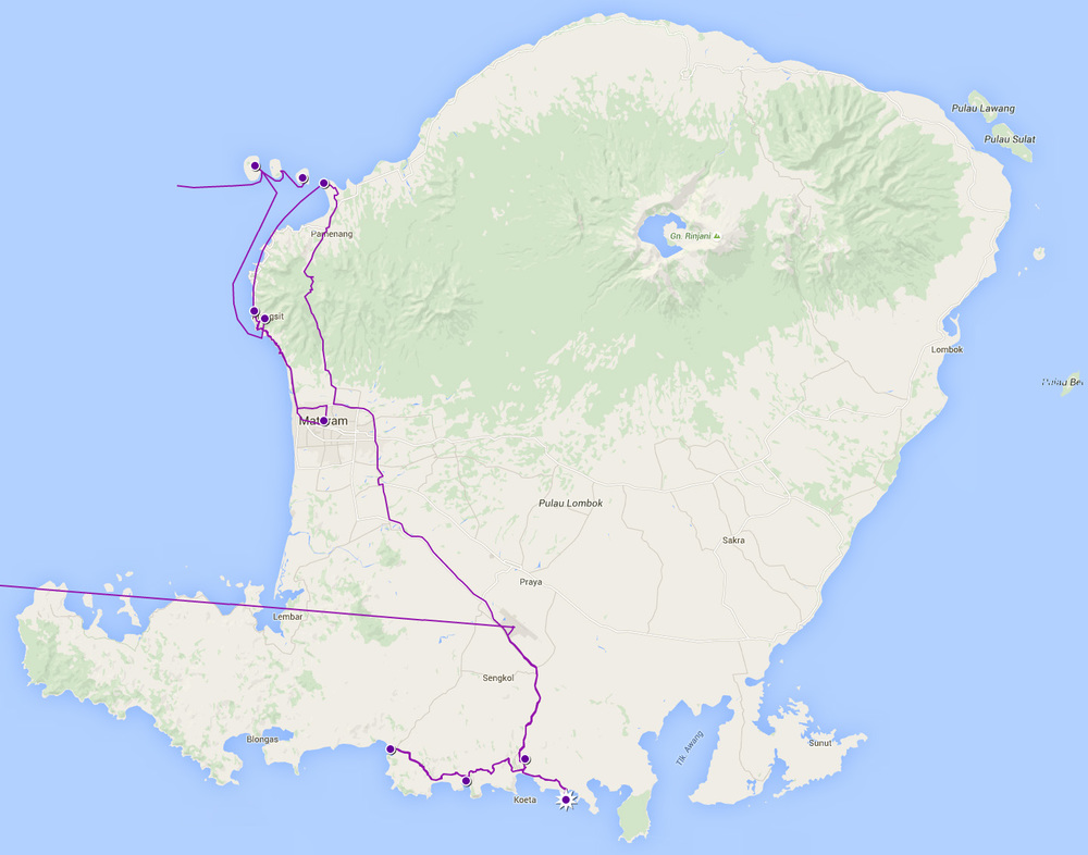 Our Route Through Lombok, Indonesia