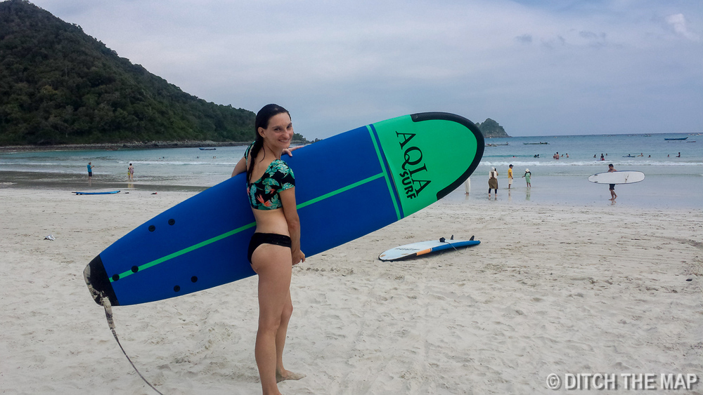 Sylvie Catching Waves at Selong Belanak Beach in Lombok, Indonesia