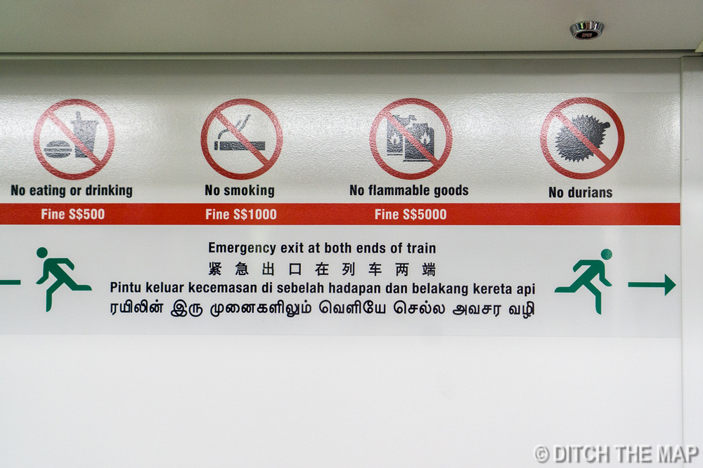 Sign on Subway in Singapore