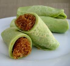 Pandan crepe with coconut and brown sugar filling
