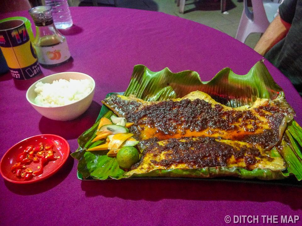 Grilled Stingray with Belacan Sambal in Kuching, Sarawak, Borneo, Malaysia