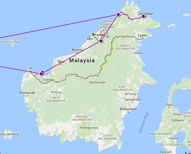 Our Route Through Borneo