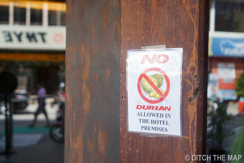 No Durian Sign in Georgetown, Penang, Malaysia